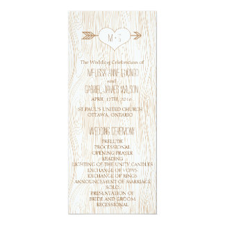 Het rustieke Woodgrain Programma van het Huwelijk 10,2x23,5 Uitnodiging Kaart