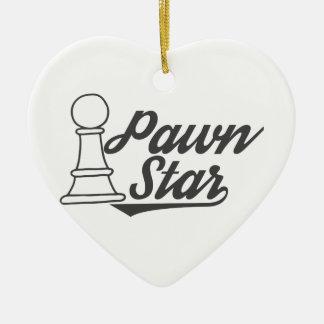 het schaakclub van de pandster keramisch hart ornament