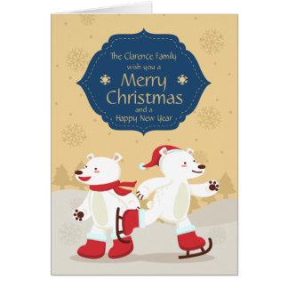 Het schaatsen de Groet van de Ijsbeer van Kerstmis Wenskaart