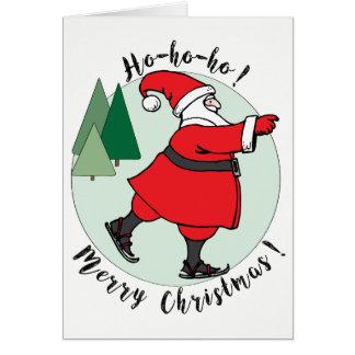Het schaatsen de Kerstkaart van de Kerstman Kaart