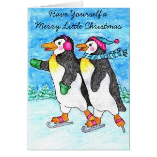 Het schaatsen de Kerstkaart van Pinguïnen Wenskaart