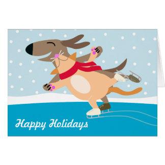 Het schaatsen-Gelukkige Vakantie van de hond & Van Wenskaart