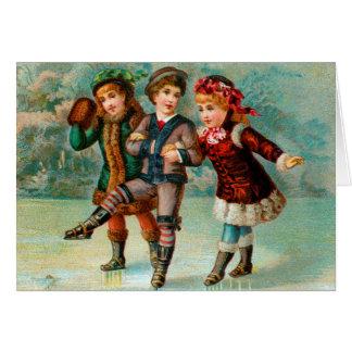 Het schaatsen het Wenskaart van het Trio