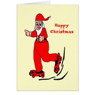 Het schaatsen Kerstman Wenskaart