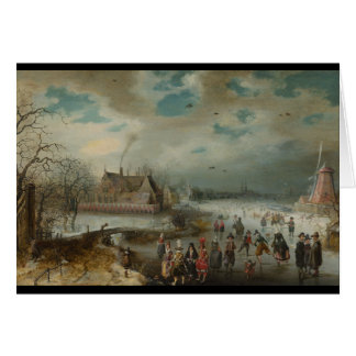 Het schaatsen op Bevroren Rivier Amstel Briefkaarten 0