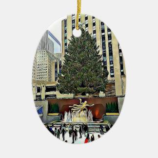 Het Schaatsen van de Boom NYC Rockefeller Kerstmis Keramisch Ovaal Ornament