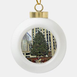 Het Schaatsen van de Boom NYC Rockefeller Kerstmis Keramische Bal Ornament