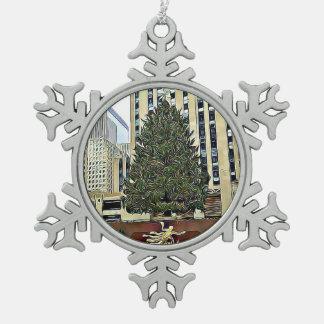 Het Schaatsen van de Boom NYC Rockefeller Kerstmis Tin Sneeuwvlok Ornament