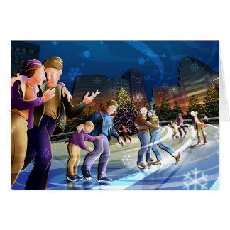 Het Schaatsen van het ijs Kerstkaart Briefkaarten 0