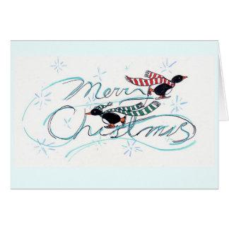 Het Schaatsen van het ijs Kerstmis van Pinguïnen Wenskaart