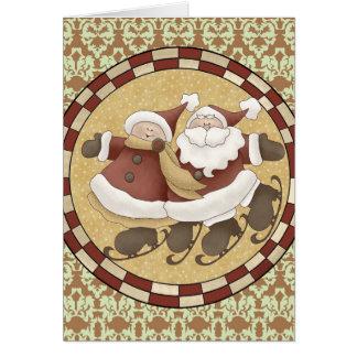 Het Schaatsen van het Ijs van de kerstman Wenskaart