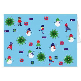 Het Schaatsen van het Ijs van de winter Kerstkaart Briefkaarten 0