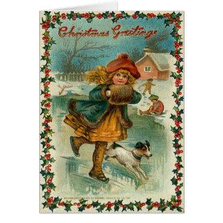 Het Schaatsen van het Ijs van Kerstmis Kaart