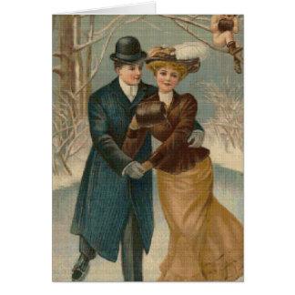 Het Schaatsen van het paar het DwarsWenskaart van Briefkaarten 0