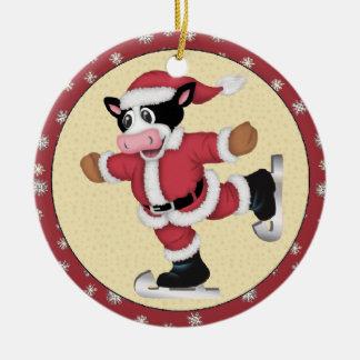 Het Schaatsen van Kerstmis het Ornament van de Koe
