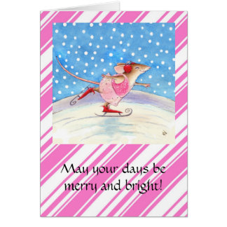 Het schaatsen wenskaart van Kerstmis van de Muis