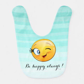 Het schattige Knipogen Smiley Emoji gezicht-is Baby Slabbetje