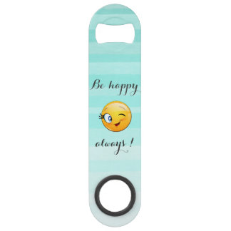 Het schattige Knipogen Smiley Emoji gezicht-is Speed Flessenopener
