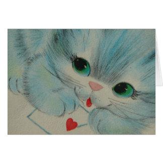 Het schattige Vintage Katje van Valentijn Wenskaart