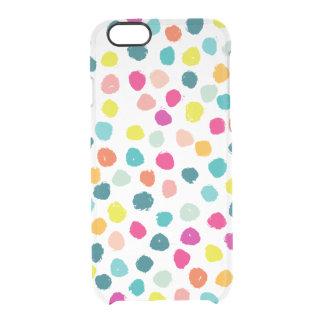 Het schetsmatige Gelukkige Stip van de Kleur Doorzichtig iPhone 6/6S Hoesje
