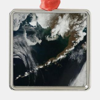 Het schiereiland Van Alaska en de Aleoetishe Zilverkleurig Vierkant Ornament