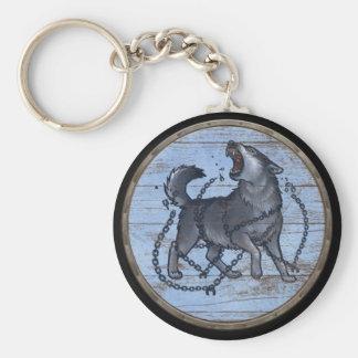 Het Schild van Viking Keychain - Fenrir Basic Ronde Button Sleutelhanger