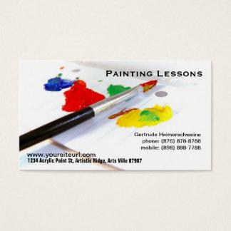 Het schilderen Lessen - Penseel op document palet Visitekaartjes