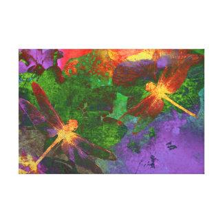 Het schilderen Libellen en Orchideeën Canvas Afdrukken
