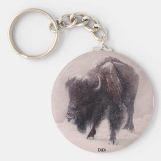 Het schilderen van de Blizzard van buffels door Di Basic Ronde Button Sleutelhanger