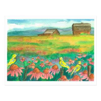 Het Schilderen van de Bloemen van de Waterverf van Briefkaart
