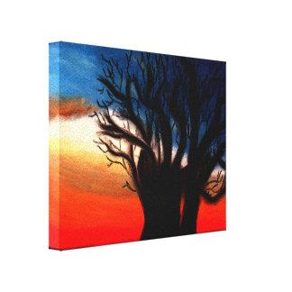 Het Schilderen van de Boom van de baobab Stretched Canvas Afdrukken