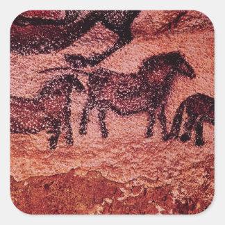Het schilderen van de rots van tarpans, c.17000 BC Vierkante Sticker