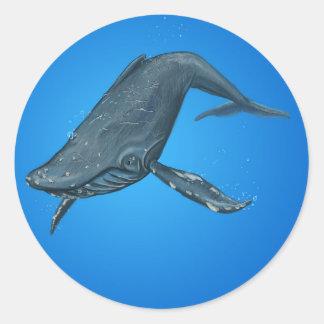 Het Schilderen van de Walvis van de gebochelde Ronde Sticker