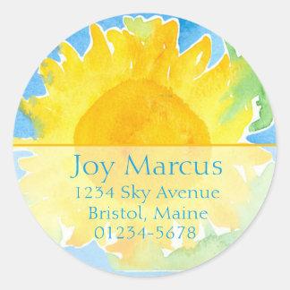 Het Schilderen van de Waterverf van de zonnebloem Ronde Sticker