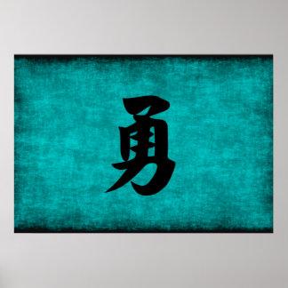 Het Schilderen van het Chinese Karakter voor Moed Poster