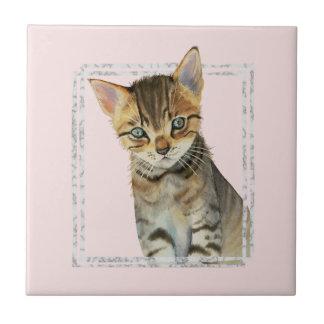 Het Schilderen van het Katje van de gestreepte kat Keramisch Tegeltje