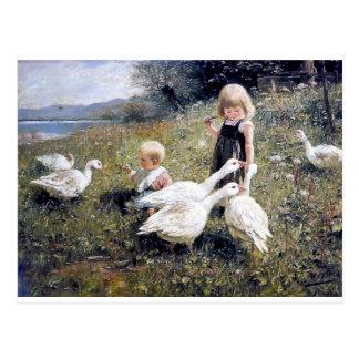 Het schilderen van kinderen en van Ganzen Briefkaart