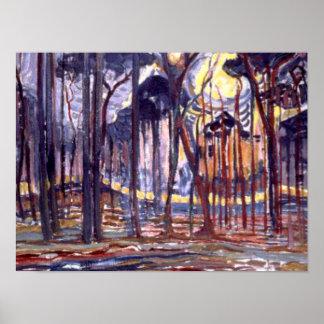 Het schilderen van Piet Mondrian, Bos Poster