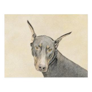 Het Schilderen van Pinscher van Doberman - het Briefkaart