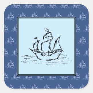 Het Schip van de piraat op het Blauwe Patroon van Vierkante Sticker