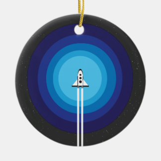 Het schip van de raket vliegt voorbij de Blauwe Rond Keramisch Ornament