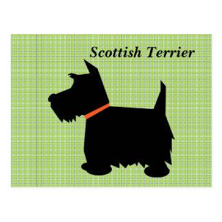 Het Schotse briefkaart van het de hond zwarte silh Wens Kaarten