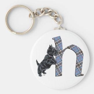 Het Schotse Monogram H van Terrier Basic Ronde Button Sleutelhanger