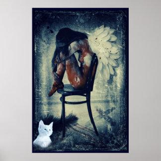 het schreeuwende engel en sterposter van de katjes poster