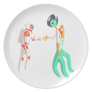 Het Schudden van de Astronaut van het man Handen Melamine+bord