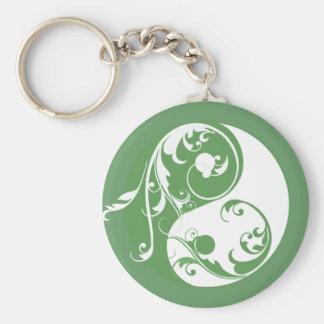 Het scrollen (groene) Yin & Yang Sleutelhanger