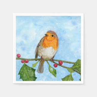 Het Servet van Robin Bird Watercolour Painting Wegwerp Servetten