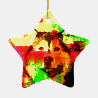 Het Siberische Schor Art. van de Hond Keramisch Ster Ornament