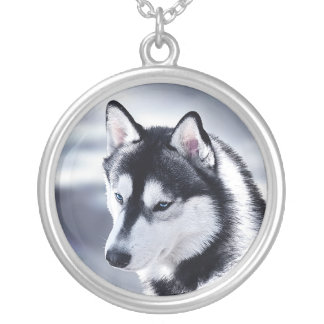 Het Siberische Schor Portret van de Hond Zilver Vergulden Ketting