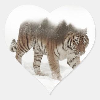 Het Siberische tijger-tijger-dubbele Hart Sticker